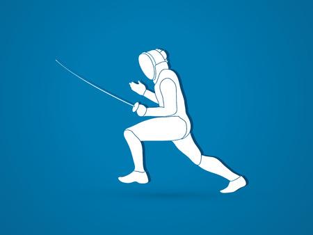 fencing: Fencing pose graphic vector