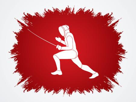 grunge frame: Fencing pose designed on grunge frame background graphic vector