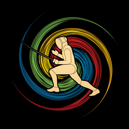 Fencing pose designed on spin wheel background graphic vector