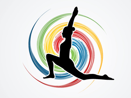 spin wheel: * DescriptionTitleCaption:  Yoga pose designed on spin wheel background graphic vector. 59  200 * Keywords: Illustration