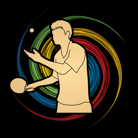spin: table tennis player designed on spin wheel background graphic vector.