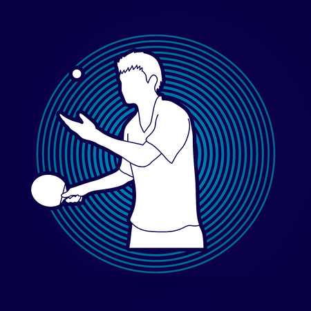 table tennis player designed on line cycle background graphic vector. Illustration