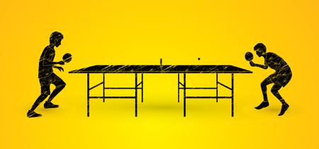 Ping pong 2 giocatori progettato grafica utilizzando pennello grunge vettoriale. Vettoriali