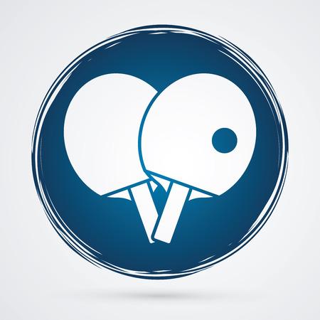 ping pong: Las raquetas de tenis que juega a ping pong dise�ada en el c�rculo de fondo grunge gr�fico vectorial. Vectores