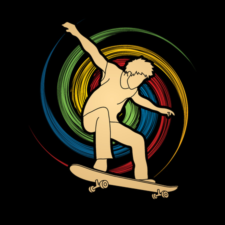 spin: Skateboarders jumping designed on spin wheel background graphic vector.