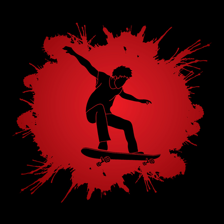 tripping: Skateboarders jumping designed on splash blood background graphic vector.