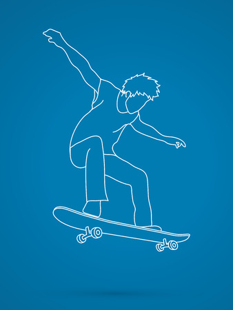 tripping: Skateboarders jumping graphic vector.