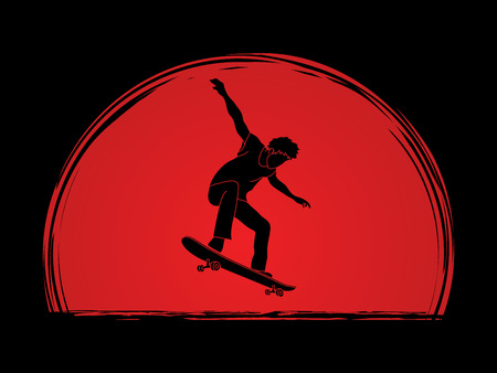 tripping: Skateboarders jumping designed on sunshine background graphic vector. Illustration