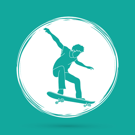 tripping: Skateboarders jumping designed on grunge circle background graphic vector.