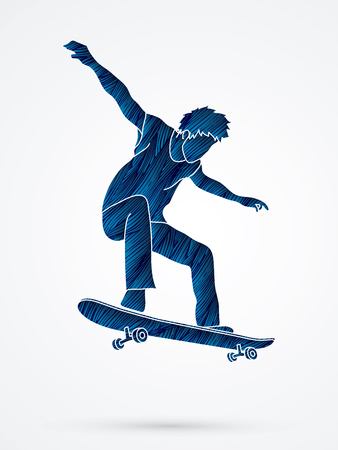 tripping: Skateboarders jumping designed using blue grunge brush graphic vector.