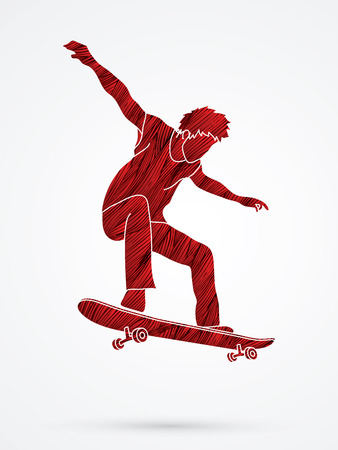 tripping: Skateboarders jumping designed using red grunge brush graphic vector. Illustration