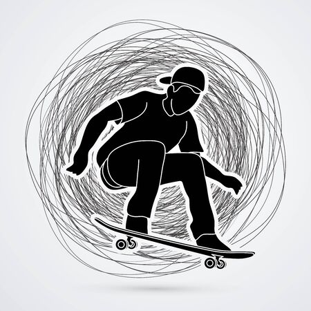 tripping: Skateboarders jumping designed on grunge stroke background graphic vector.
