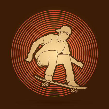 tripping: Skateboarders jumping designed on light circle background graphic vector.