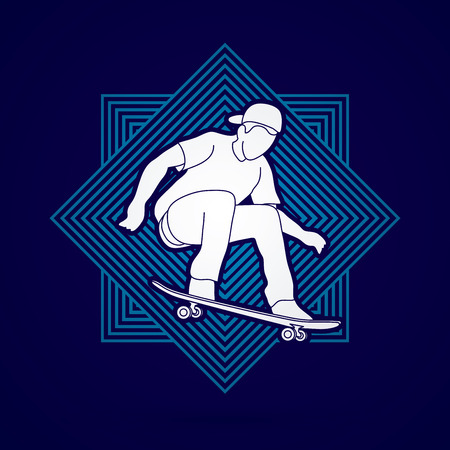 tripping: Skateboarders jumping designed on line square background graphic vector.