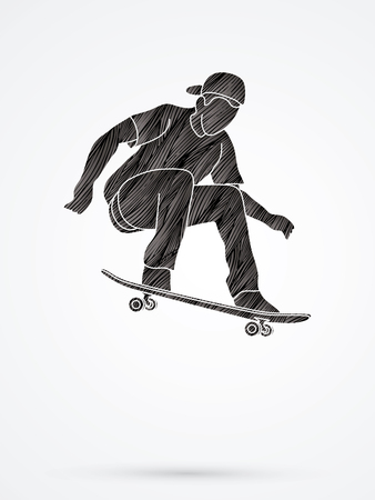 tripping: Skateboarders jumping designed using black grunge brush graphic vector.