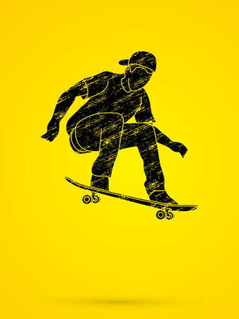 tripping: Skateboarders jumping designed using grunge brush graphic vector. Illustration