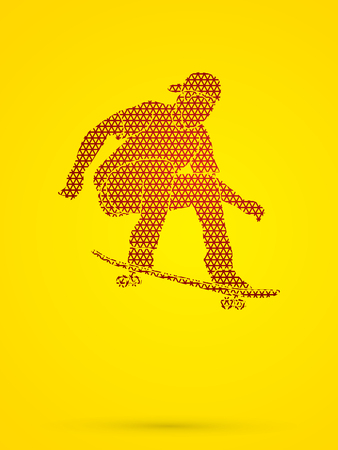 tripping: Skateboarders jumping designed using geometric pattern graphic vector. Illustration