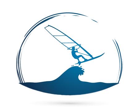 windsurfing: Windsurfing gráfico vectorial.