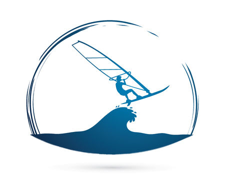 windsurf: Windsurfing graphic vector.