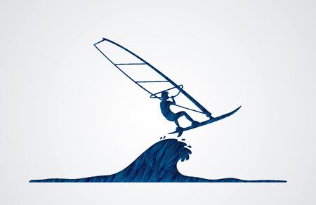 screen printing: Windsurfing designed using blue grunge brush graphic vector. Illustration