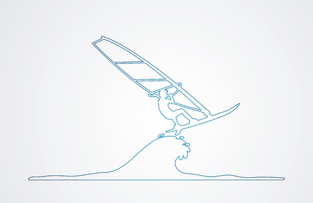 windsurfing: Windsurfing outline graphic vector.