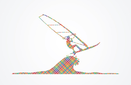 windsurfing: Windsurfing designed using colorful pixels graphic vector.