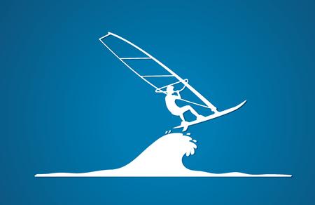 windsurf: Windsurfing gráfico vectorial.