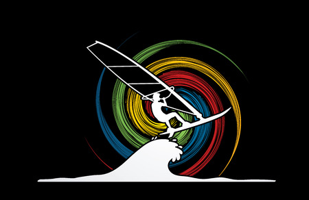 spin: Windsurfing designed on spin wheel background graphic vector.