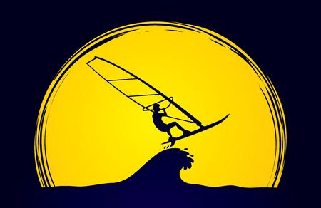 windsurf: Windsurf diseñada luz de la luna en el fondo del gráfico de vector.