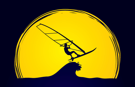 windsurf: Windsurfing designed on moonlight background graphic vector. Illustration