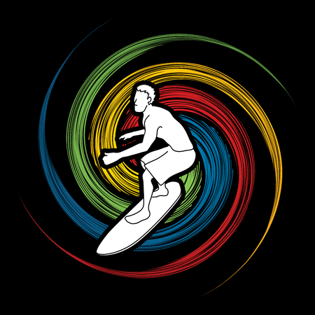 spin: Surfing designed on spin wheel background graphic vector.