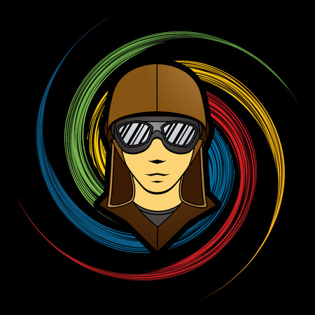 spin: Pilot Face designed on spin wheel background graphic vector