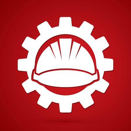 Construction helmet with gear graphic vector.