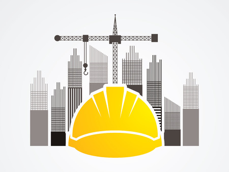 Construction building industry designed on tower and city background graphic vector. Vetores