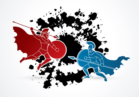 Spartan guerrero que lucha con una lanza diseñada en el fondo salpicaduras de tinta vector de gráfico.