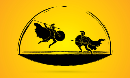 brave of sport: Spartan warrior fighting with a spear graphic vector. Illustration