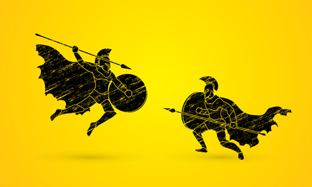 brave of sport: Spartan warrior fighting with a spear designed using grunge brush graphic vector.
