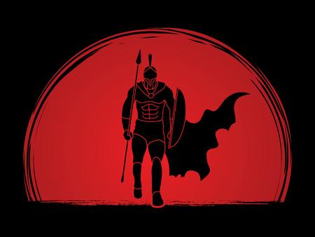 Spartan warrior chodzenie z włócznią zaprojektowanej na tle słońca grafiki wektorowej. Ilustracje wektorowe