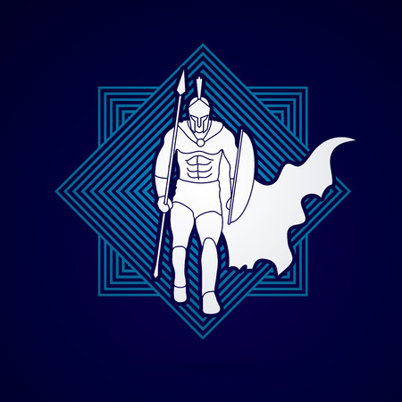 sparta: Spartan warrior walking with a spear designed on line square background graphic vector.