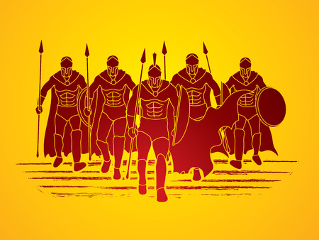 Group of Spartan warrior walking with a spear graphic vector.