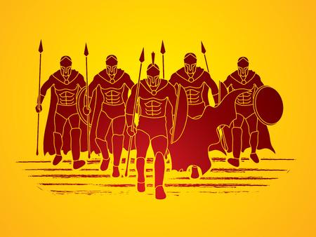 Gruppo di Spartan Warr camminare con una lancia grafica vettoriale. Vettoriali