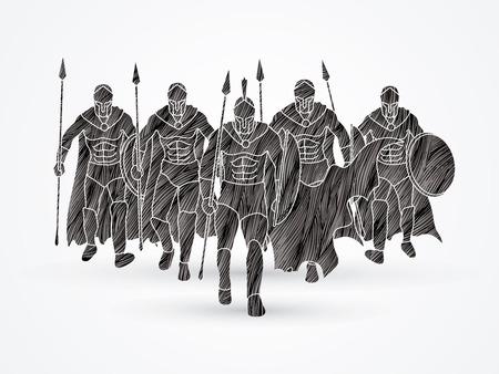 黒グランジ ブラシ グラフィック ベクトルを使用して設計されて槍で歩くスパルタの戦士のグループ。  イラスト・ベクター素材