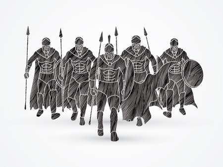 Group of Spartan warrior walking with a spear designed using black grunge brush graphic vector.