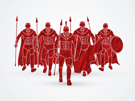 Group of Spartan warrior walking with a spear designed using red grunge brush graphic vector.