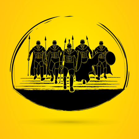 spear: Group of Spartan warrior walking with a spear graphic vector.
