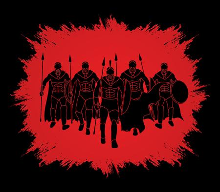 Groep Spartaanse krijger lopen met een spies ontworpen op grunge frame achtergrond grafische vector.