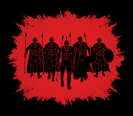 Group of Spartan warrior walking with a spear designed on grunge frame background graphic vector.