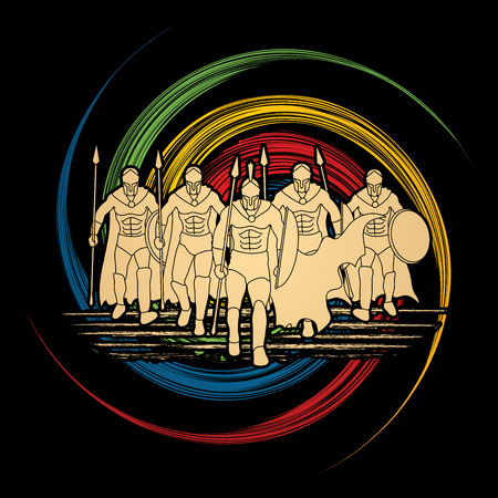 spin wheel: Group of Spartan warrior walking with a spear designed on spin wheel background graphic vector.