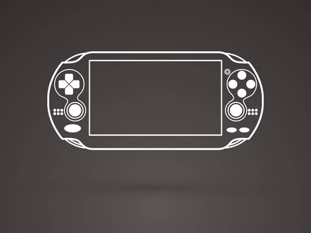 portable console: Game outline graphic vector.