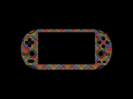 handheld device: Game designed using colorful pixels graphic vector. Illustration
